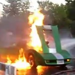 Corvette catches on fire during burnout contest