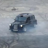 The Stig does donuts in a London Taxi Cab