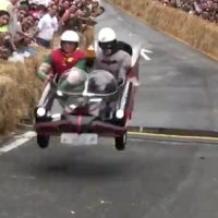 Batman and Robin crash a soap box racer