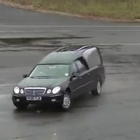 Mercedes hearse drifting