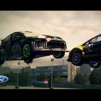 Ken Block and Tanner Foust engage in a Dirt 3 Gymkhana battle
