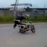 In soviet Russia, motorcycle drives you