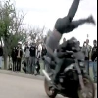 Motorcycle leap frog attempt goes hilariously wrong