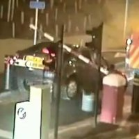 This is the reason why you shouldn't tow a car through a tollbooth
