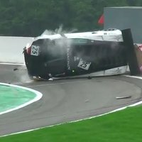 Lamborghini crashes while trying to enter the pits.