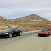 Tesla Model S and Roadster together
