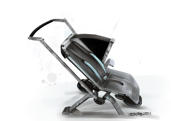 A stroller specially designed for porsche owners v12 for Mercedes benz baby pram