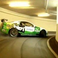 Watch a 300ZX drifting in a parking garage
