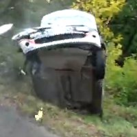 Clio crashes at the 2011 Rally des Cevennes