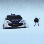 Winter Hoonage: Peugot 207 Races Downhill Skier Down an Italian Mountain