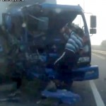 Watch A Russian Trucker Get Out Of A Huge Accident, Chuck Norris Style