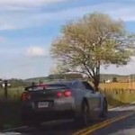 Watch a Speeding Nissan GT-R Go Airborne and Crash Into a Field After Making Stupid Move