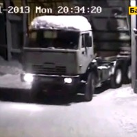 Truck driver hits gate