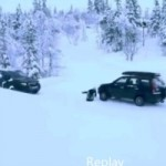 Video: Man Sleds On Public Roads, Almost Gets Destroyed By Two Cars