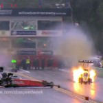 Two drag-race drivers avoid disaster on the same race