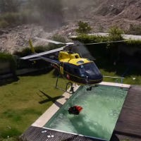 Pilot-takes-water-from-pool
