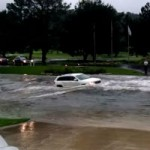 Jeep is swept away by terrible flood