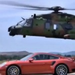 A Porsche races a military helicopter… Who will win?