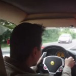 He avoids a huge crash while driving a Ferrari F430!